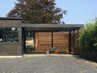 Design-Carport mit Holz-Rückwand